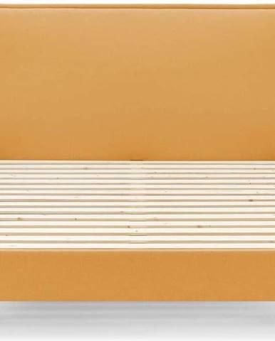 Žlutá dvoulůžková postel Bobochic Paris Dark, 180 x 200 cm