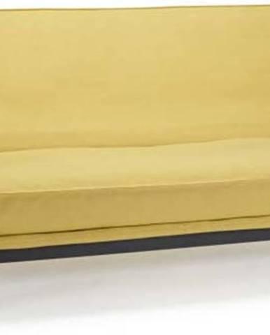 Žlutá rozkládací pohovka se snímatelným potahem Innovation Mimer Soft Mustard Flower