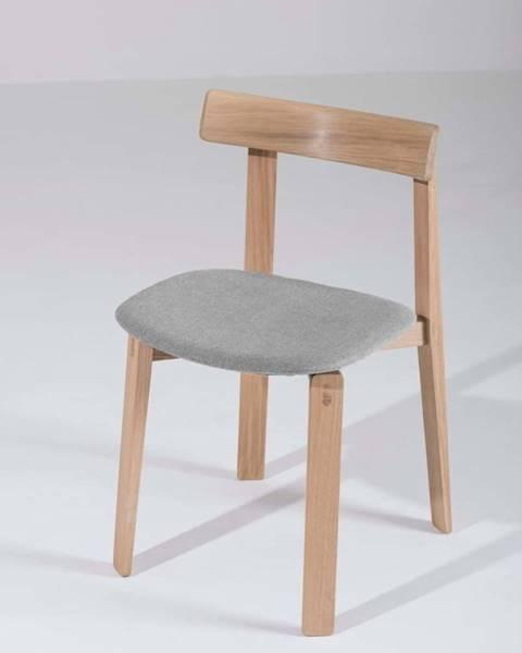 Gazzda Jídelní židle z masivního dubového dřeva se šedým sedákem Gazzda Nora