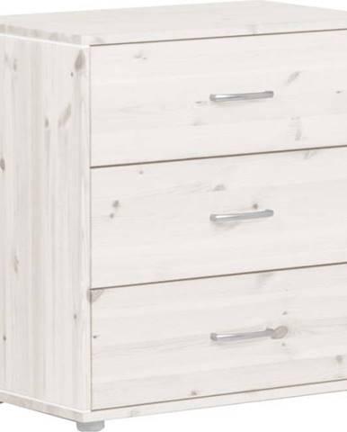 Bílá dětská komoda s 3 šuplíky z borovicového dřeva Flexa Classic