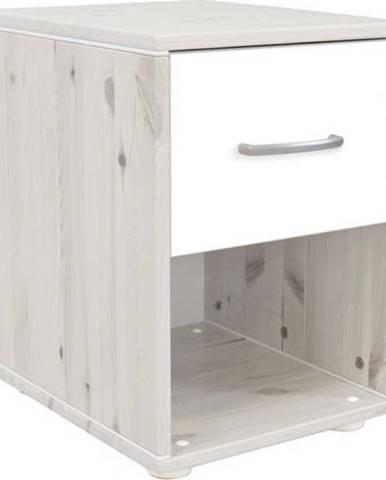Bílý dětský noční stolek z borovicového dřeva Flexa Classic