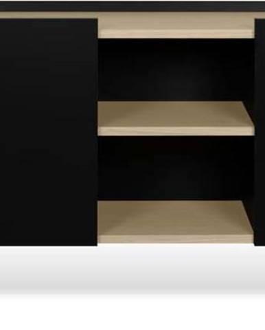 Černá komoda s 3 policemi a 3 dvířky TemaHome Nina, 180 x 83 cm