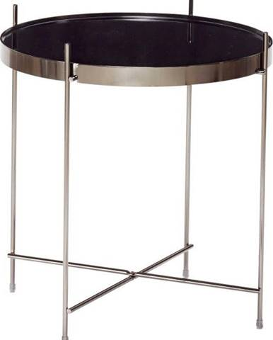 Černý odkládací stolek se zrcadlovou deskou Hübsch Dorotea, ø43cm