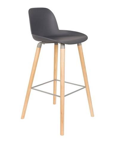 Sada 2 tmavě šedých barových židlí Zuiver Albert Kuip, výška sedu 75cm