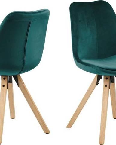 Sada 2 zelenomodrých jídelních židlí Actona Dima Velvet
