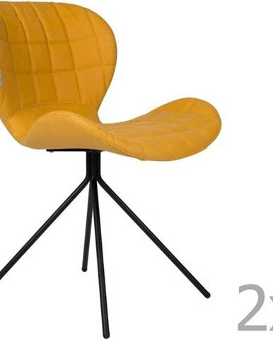 Sada 2 žlutých židlí Zuiver OMG LL