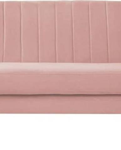 Světle růžová sametová pohovka Mazzini Sofas Sardaigne, 188 cm