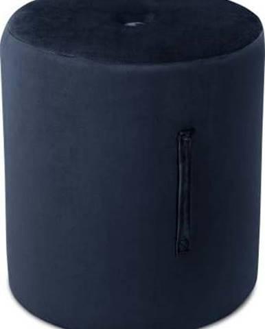 Tmavě modrý puf Mazzini Sofas Fiore, ⌀ 40 cm