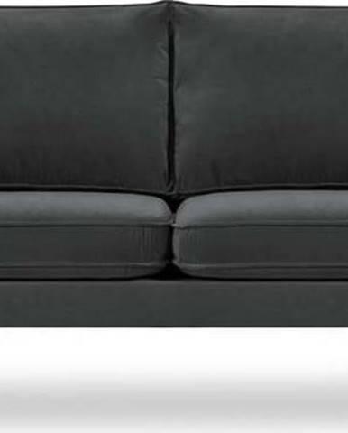 Tmavě šedá sametová pohovkav s černými nohami Kooko Home Lento, 198 cm