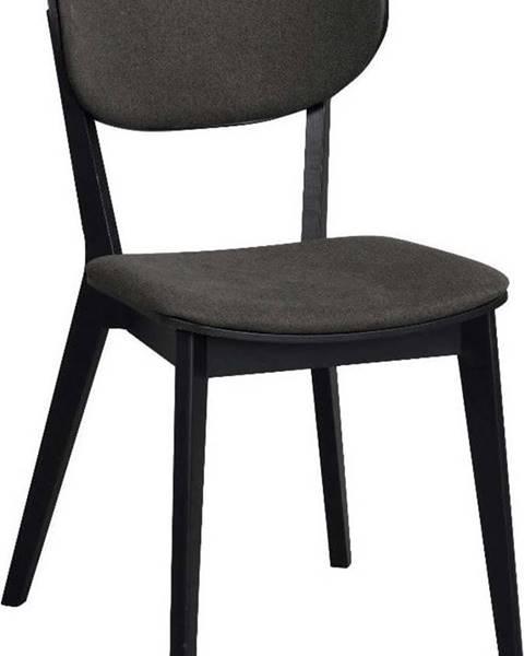 Rowico Černá dubová jídelní židle s tmavě šedým sedákem Rowico Cato