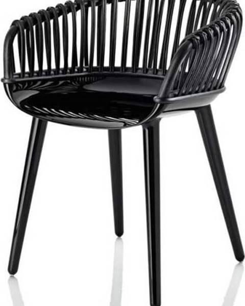 Magis Černá jídelní židle s výpletem Magis Cyborg