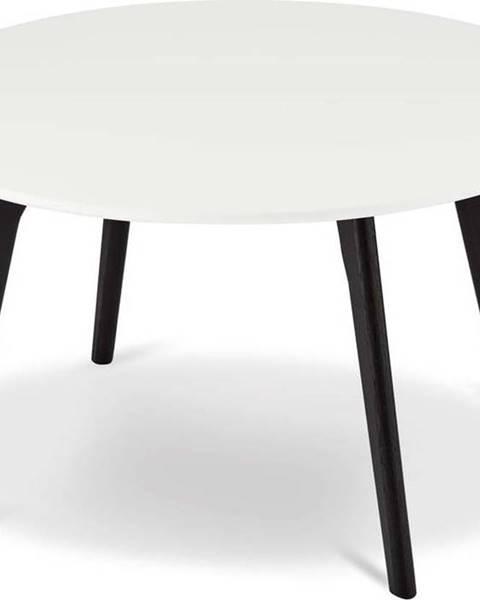 Furnhouse Černo-bílý konferenční stolek s nohami z dubového dřeva Furnhouse Life, Ø80cm
