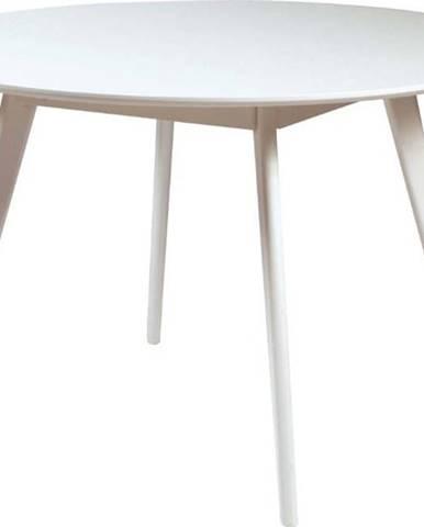 Bílý jídelní stůl s nohami z gumovníkového dřeva Rowico YuRAi , ∅115cm