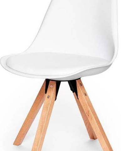 Sada 2 bílých židlí s podnožím z bukového dřeva loomi.design Eco