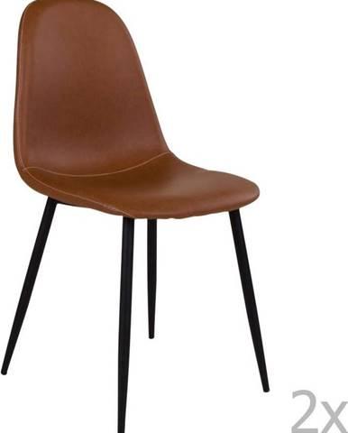 Sada 2 hnědých židlí s černými nohami House Nordic Stockholm