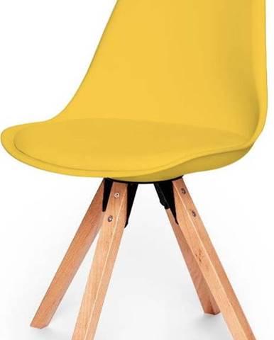 Sada 2 žlutých židlí s podnožím z bukového dřeva loomi.design Eco