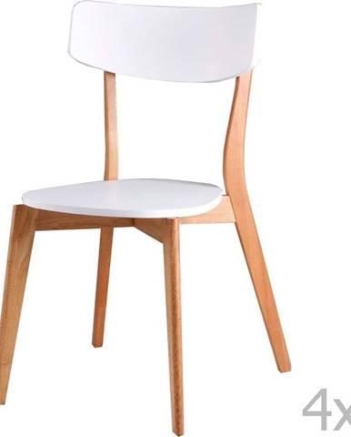 Sada 4 bílých jídelních židlí sømcasa Ava