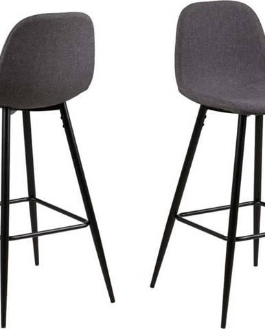 Šedá barová židle s kovovým podnožím Actona Wilma