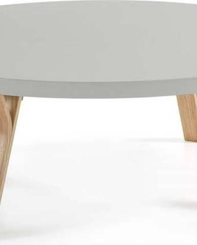 Světle šedý konferenční stolek s nohami z jasanového dřeva La Forma Solid, Ø 90 cm
