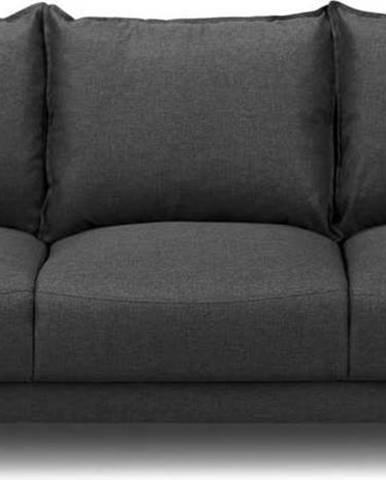 Tmavě šedá rozkládací pohovka súložným prostorem Mazzini Sofas Ancolie, 215 cm