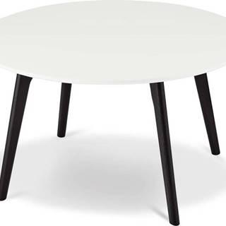 Černo-bílý konferenční stolek s nohami z dubového dřeva Furnhouse Life, Ø80cm