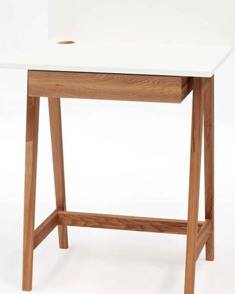 Ragaba Bílý psací stůl s podnožím z jasanového dřeva Ragaba Luka Oak,délka65cm
