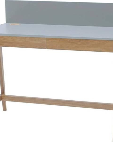 Ragaba Šedý psací stůl s podnožím z jasanového dřeva Ragaba Luka,délka110cm