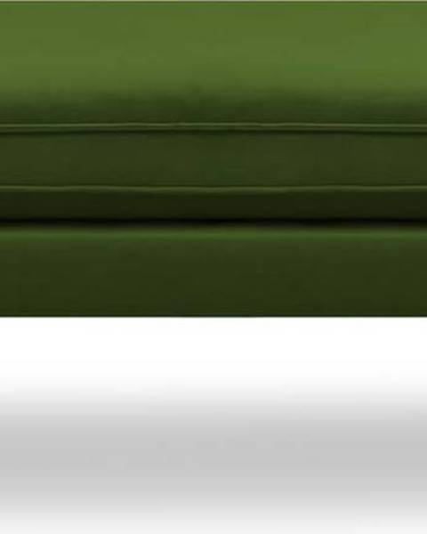 Kooko Home Zelená sametová podnožka s černými nohami Kooko Home Lento