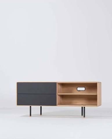 Černý TV stolek z dubového dřeva Gazzda Fina, šířka 150 cm