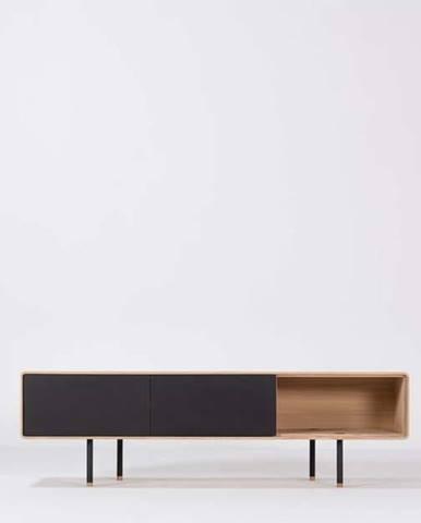 Černý TV stolek z dubového dřeva Gazzda Fina, šířka 160 cm