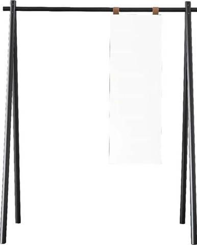 Černý věšák z borovicového dřeva se zrcadlem Karup Design Hongi Black