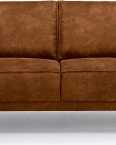 Koňakově hnědá pohovka z imitace kůže Scandic Copenhagen, 224 cm