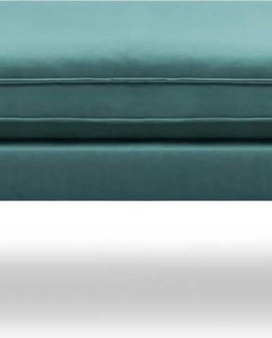 Petrolejově modrá sametová podnožka s černými nohami Kooko Home Lento