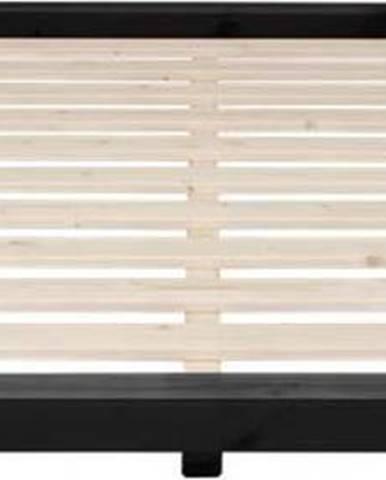 Postel z borovicového dřeva v černé barvě Karup Design Dock, 160 x 200 cm