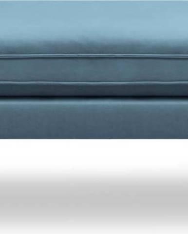 Světle modrá sametová podnožka s černými nohami Kooko Home Lento