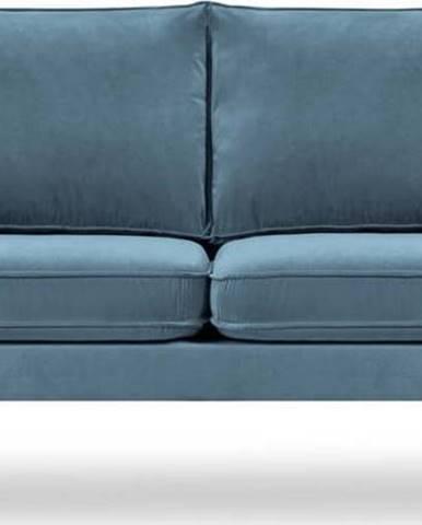 Světle modrá sametová pohovka s černými nohami Kooko Home Lento, 158 cm