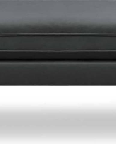 Tmavě šedá sametová podnožka s černými nohami Kooko Home Lento
