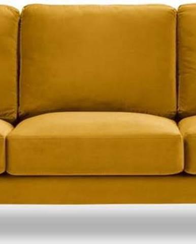 Žlutá sametová pohovka Kooko Home Harmony, 220 cm