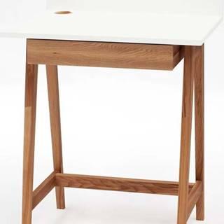 Bílý psací stůl s podnožím z jasanového dřeva Ragaba Luka Oak,délka65cm