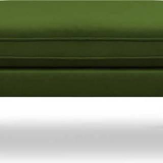 Zelená sametová podnožka s černými nohami Kooko Home Lento
