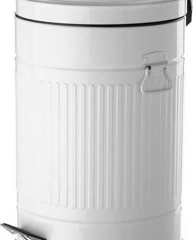 Bílý odpadkový koš z kovu Unimasa, 20 l