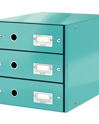 Tyrkysově modrý box se 3 zásuvkami Leitz Office, 36 x 29 x 28 cm