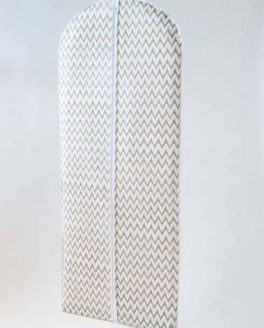 Bílý textilní závěsný obal na šaty Compactor Clear, délka 137cm