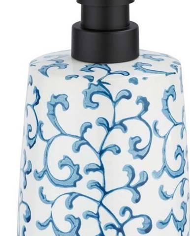 Keramický dávkovač na mýdlo s modro-bílým dekorem Wenko Mirabello, 400ml