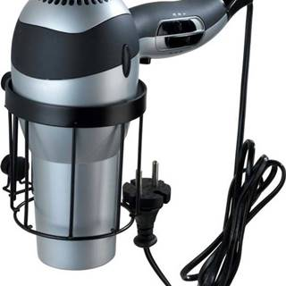 Černý nástěnný držák na fén Wenko Classic Plus