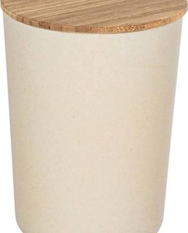 Béžový úložný box s bambusovým víkem Wenko Bondy, 700ml