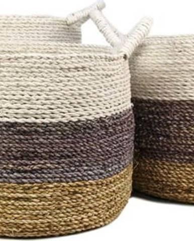 Sada 3 úložných košíků HSM collection Raffia Natural White