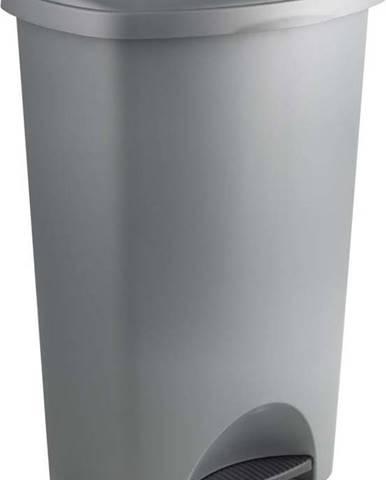 Šedý pedálový odpadkový koš s víkem Addis, 41 x 33 x 62,5 cm