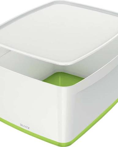 Bílo-zelený úložný box s víkem Leitz Office, objem 18 l