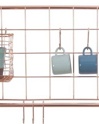Nástěnný organizér z kovu v měděné barvě PT LIVING Open Grid